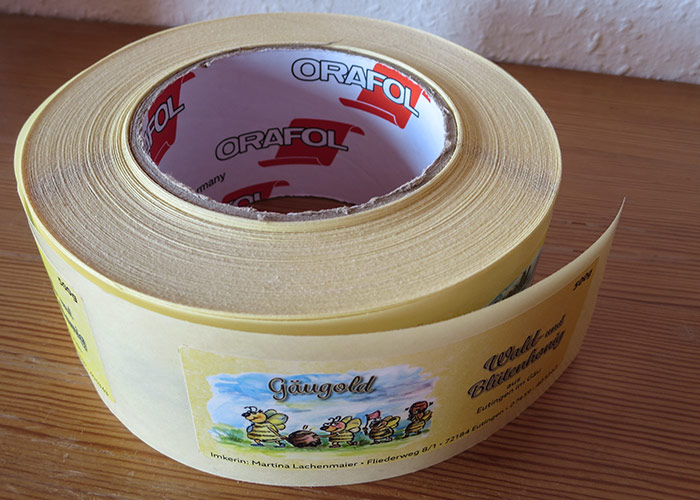 Honigglas-Etikettrolle